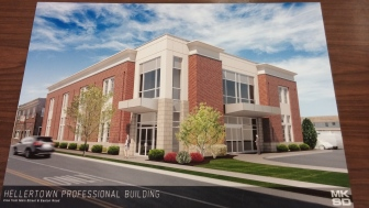A two-story professional building is proposed for the former Murray Motors property in downtown Hellertown.