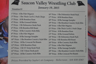 The prize card for the Saucon Valley Wrestling Club's 2015 meat raffle. Prizes are provided by Saylor's & Co. of Hellertown.
