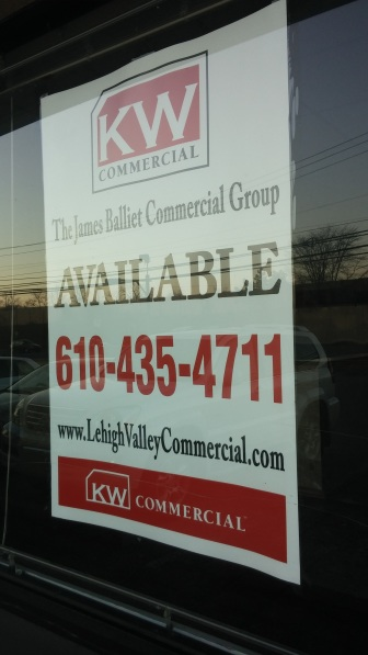 A sign in a window advertising available retail space in the Black River Plaza on Rt. 378 in Lower Saucon Township.