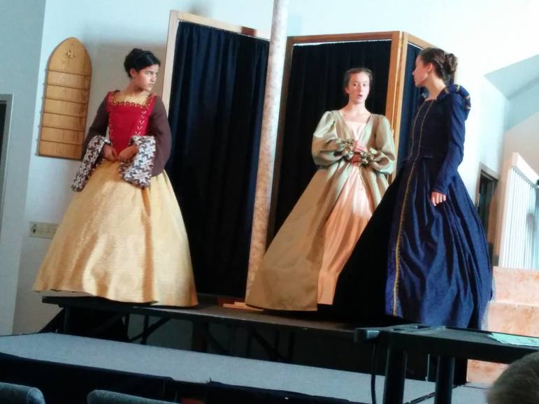 "Members of Players of the Stage rehearse a scene from ""The Prince and The Pauper,"" which the troupe will perform at Living Hope Church near Allentown this month."
