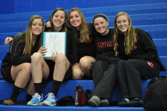 The Saucon Valley girls varsity 'fab five' pass the time before their showdown with Palmerton.