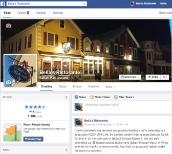 A screen shot of the Bella's Ristorante Facebook page. Bella's is an Italian restaurant at 639 Main St., Hellertown.