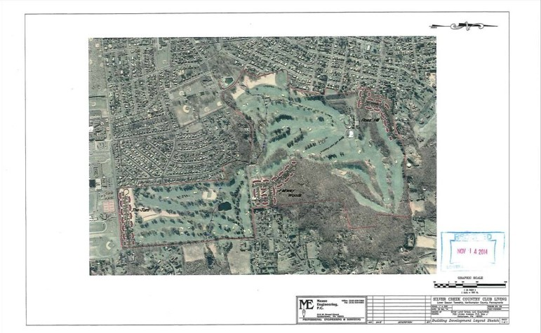 An aerial view of the proposed Silver Creek Country Club Living development in Lower Saucon Township.