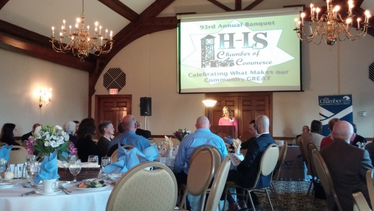Hellertown-Lower Saucon Chamber of Commerce President Stephanie Weitzman welcomed banquet attendees, introduced the evening's honorees and highlighted some upcoming events of note in the Saucon Valley area.