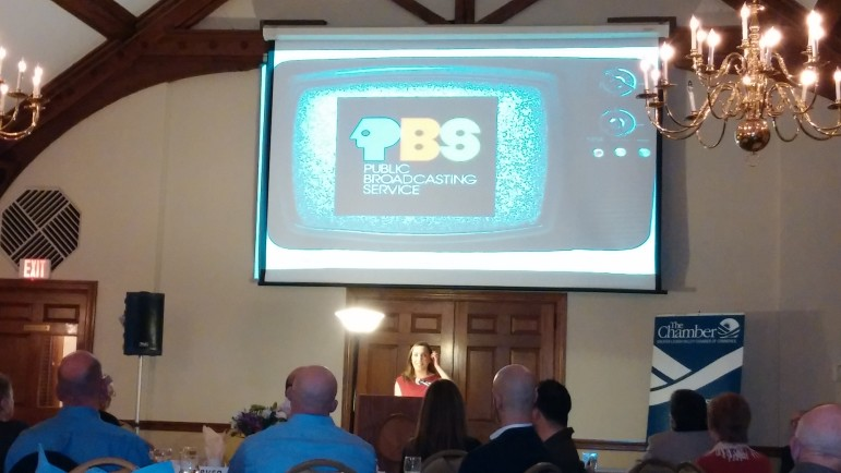 PBS 39 Executive Producer Laura McHugh delivers the keynote address at the chamber banquet.