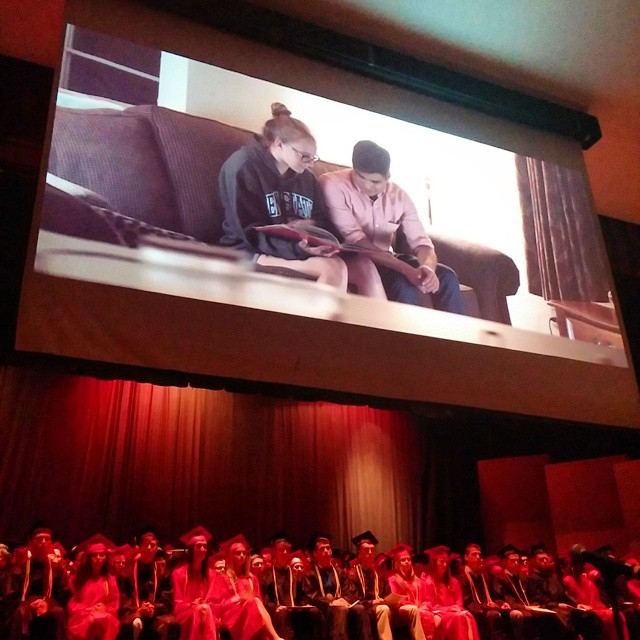 The packed SVHS auditorium was enthralled by the graduation video produced by co-salutatorians Allen Meadows and Kelsy Lysek.