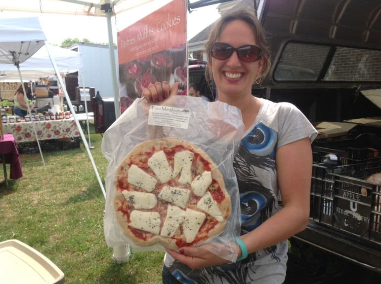 Apple Ridge Farms unveiled their new ready-to-bake pizzas at Sunday's market.