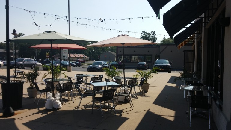 The patio dining area at DiMaio's is a popular place to enjoy an outdoor meal.
