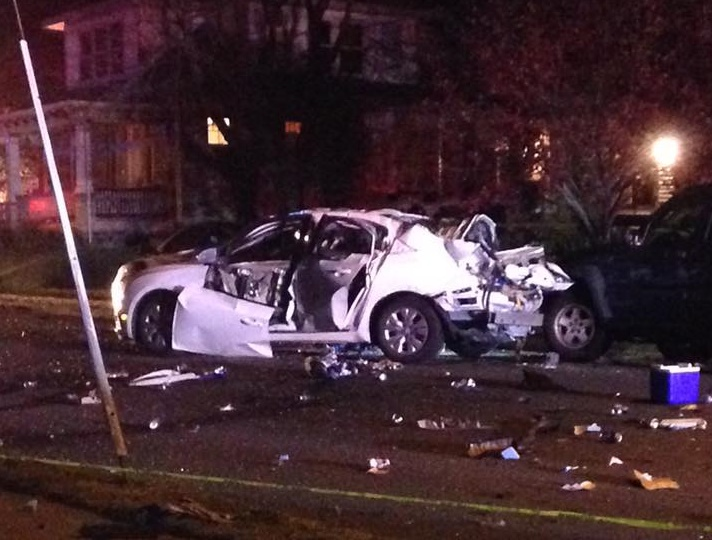 A white sedan is in pieces after it exploded on First Avenue in Hellertown Sunday night.
