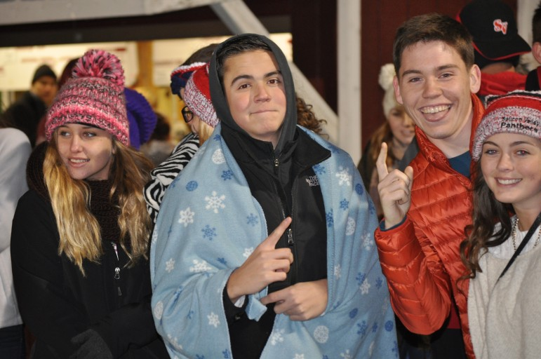 Saucon students claiming the Panthers are Number 1 at Lehighton Friday.
