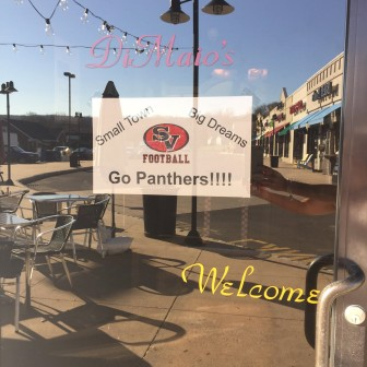 A sign supporting the Saucon Valley Panthers in their quest for a District XI AAA football championship hangins in the window of DiMaio's Family Ristorante & Pizzeria in Hellertown.