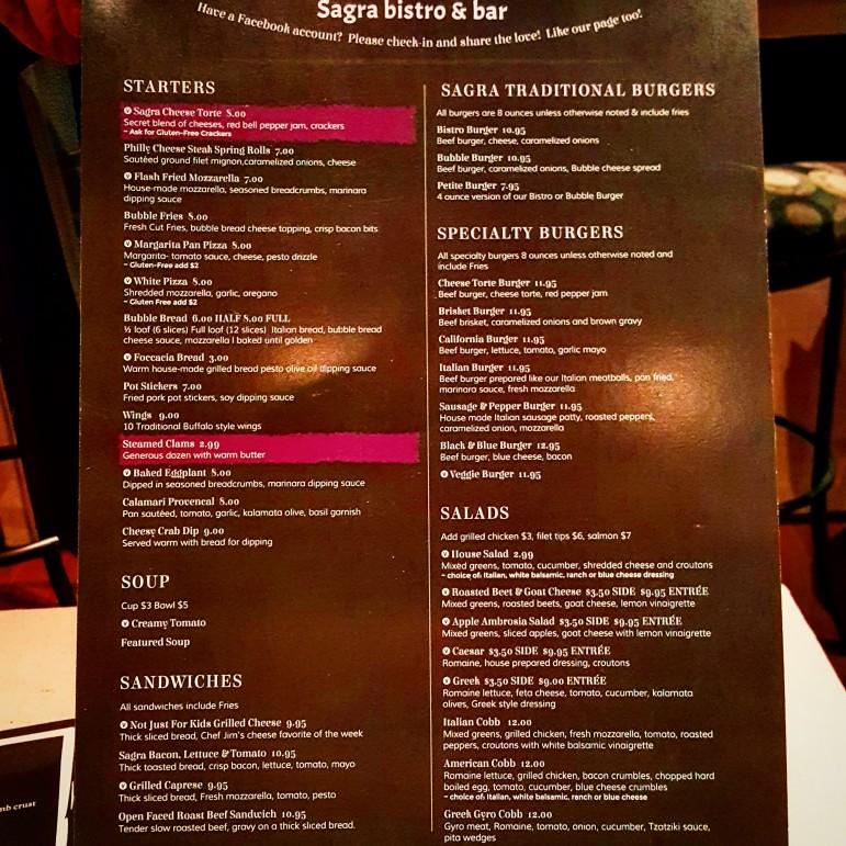 Part of the new dinner menu at Sagra Bistro in Hellertown.