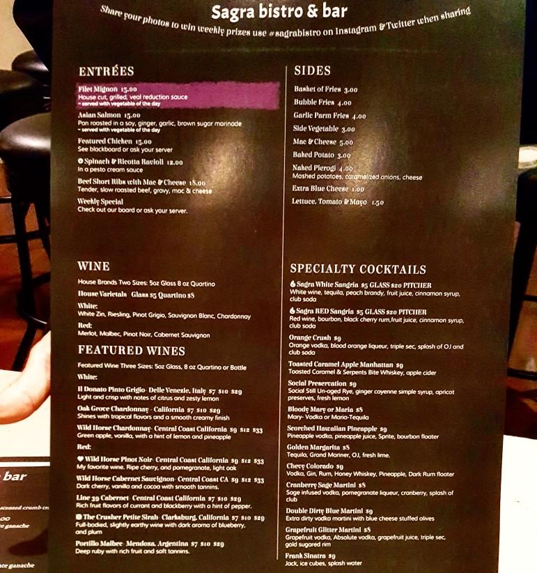 Part of the new dinner menu at Sagra Bistro.
