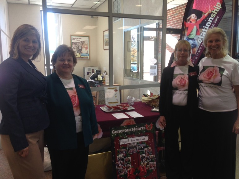 Left to right, National Penn Bank employees Stephanie Weitzman, Barbara Kemmerer and Janet Mock, and Project You Are Love's Shelley Barchanowitz-Goldberg