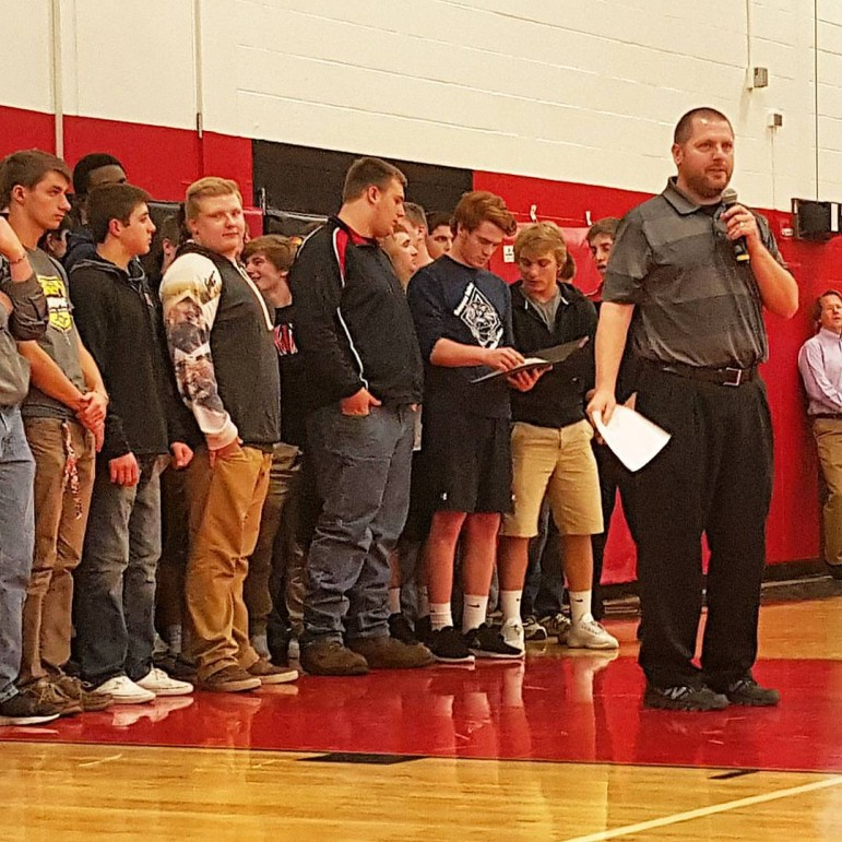 Saucon Valley Head Football Coach Matt Evancho speaks at a high school pep rally in mid-December.