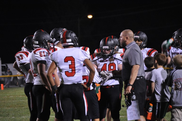Saucon Valley head football head coach Matt Evancho reminds his players about good sportsmanship during a game in September 2015 (FILE PHOTO).