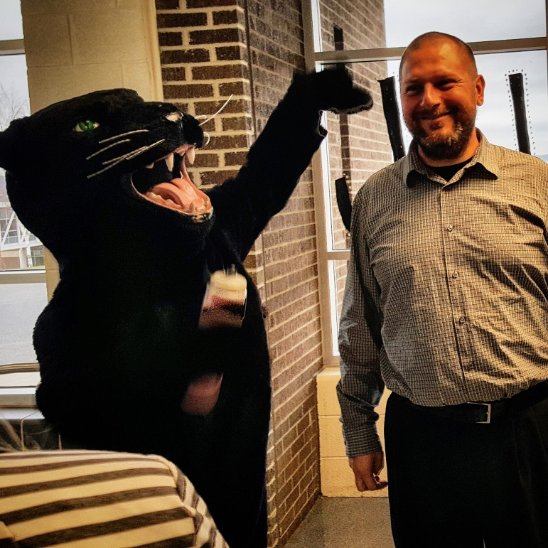 Matt Evancho will always have a friend in the Saucon Valley Panther, seen here clowning with him at the high school in November.