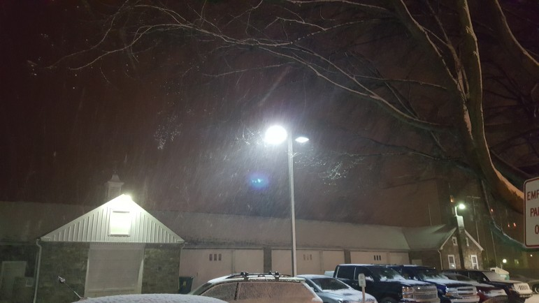 Snow falls on the Hellertown borough complex. Pictured is the public works garage.