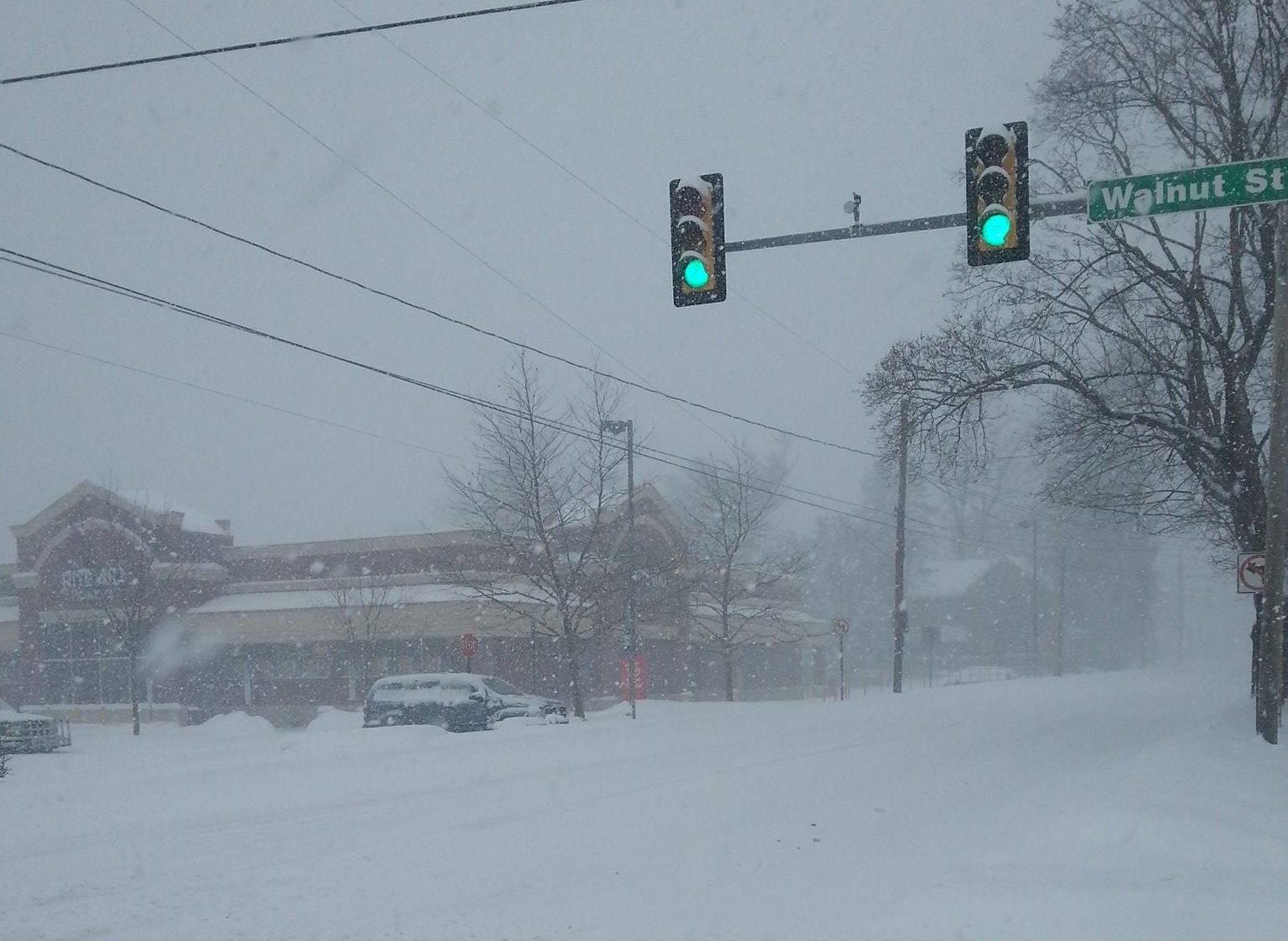 Walnut and Main snow