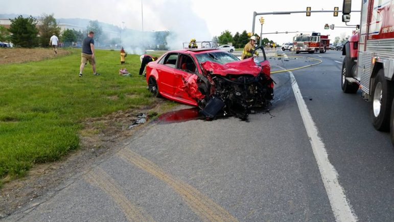 The front of a car involved in an accident near one of the entrances to the Promenade Shops at Saucon Valley Friday is shown smashed in this photo shared by rescuer Roger Counterman.