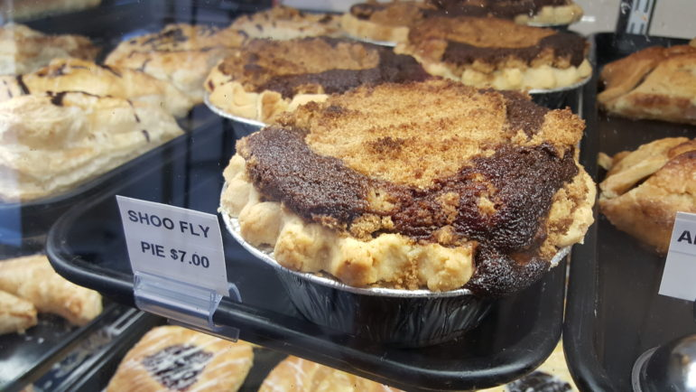 Personal-size shoo-fly pies fill the bakery case at the Hellertown Bakery.
