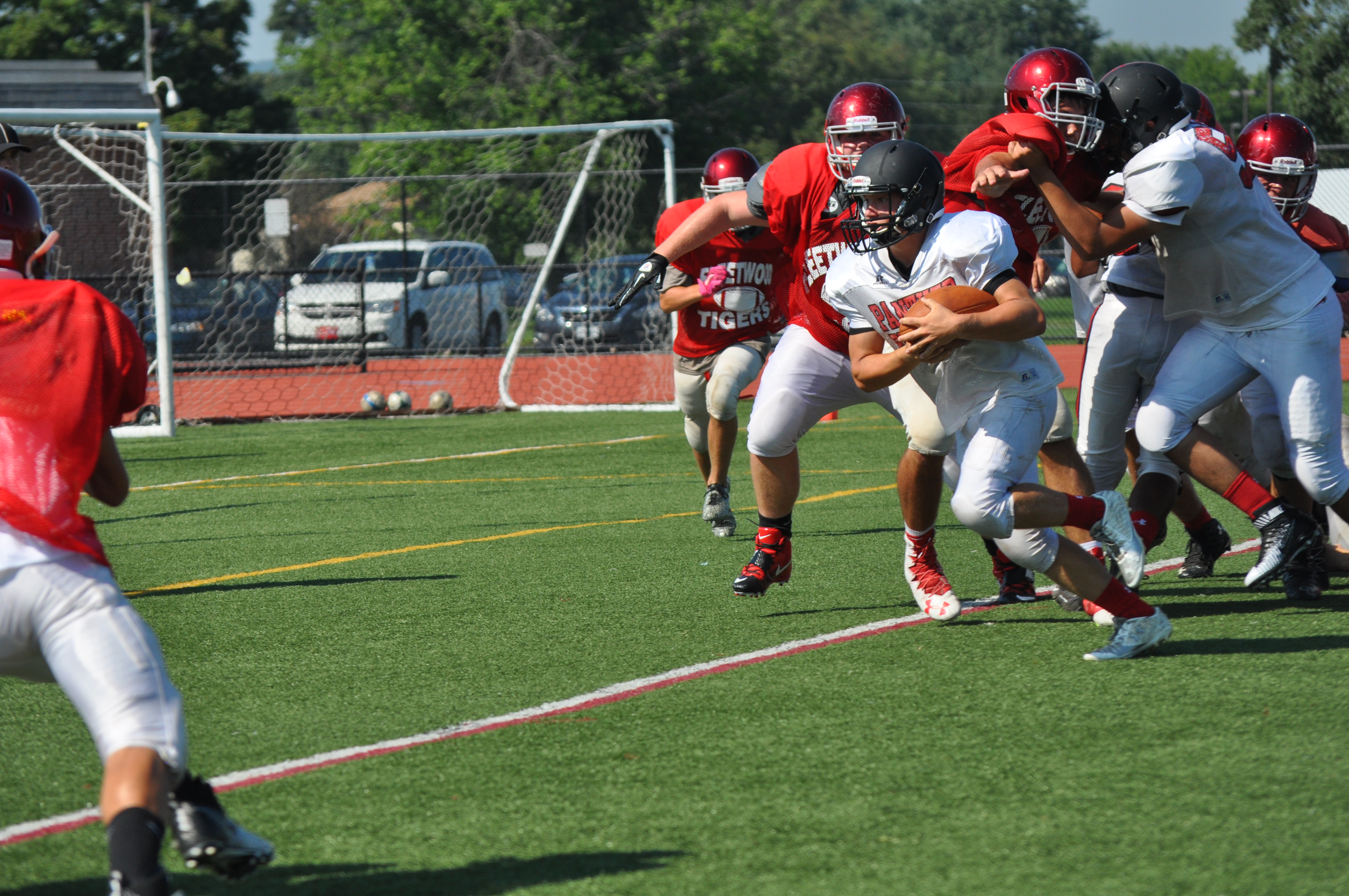 Panther sophomore Justin Kyra on his way toward the Fleetwood end zone.