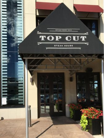 The entrance to the newly-opened Top Cut Steakhouse in The Promenade Shops at Saucon Valley in Center Valley