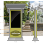 The canopied information kiosk proposed for the grassy area near Main and Water streets outside Hellertown Borough Hall will feature a 42-inch display screen.