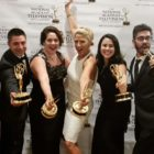 """From left, Paul Luongo, Rocky Urich, Julia Urich, Liz Keptner, Casey Feinberg, Carlo Acerra with the Mid-Atlantic Regional Emmy Awards they won as members of a FireRock Productions team that produced """"Nazareth: Resonating Through Time."""""""