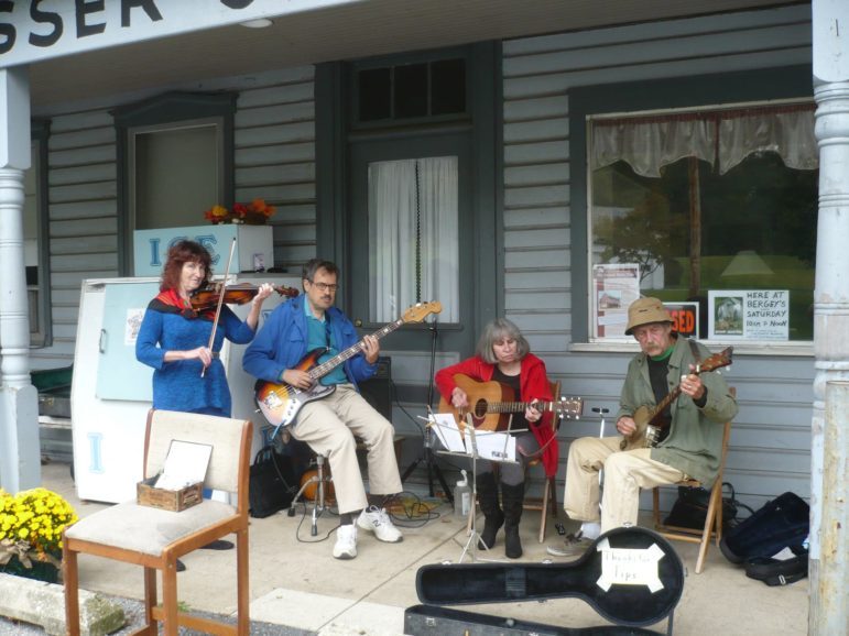 Poor Mouth performs old-time bluegrass music on the front porch of Bergy's at Wassergass and Lower Saucon roads Saturdays from 10 a.m. to 12 p.m.