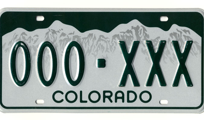 An example of a Colorado license plate