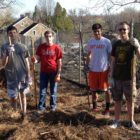 Justin Morgandale and friends work on his Eagle Scout reclamation project at the Heller Homestead barnyard in Lower Saucon Township.