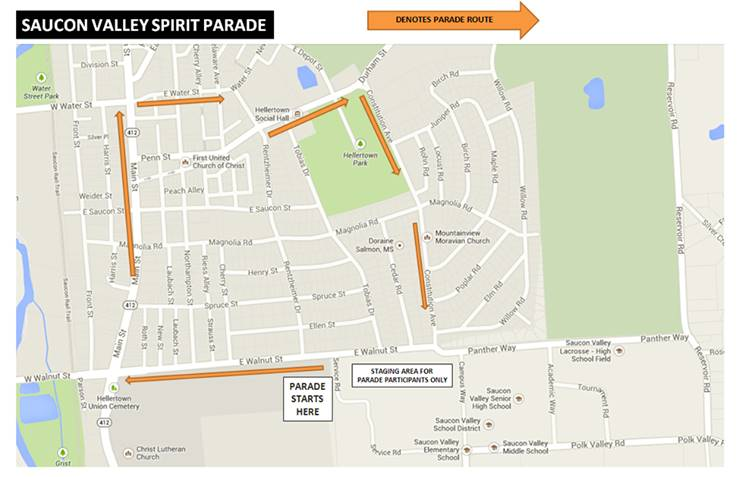The route for the 2016 Saucon Valley Spirit Parade remains the same as it has been in recent years.