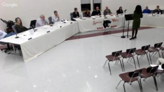 Parent Serema Ohene addresses the Saucon Valley School Board on Nov. 15, 2016 (Google Hangouts livestream screen shot).