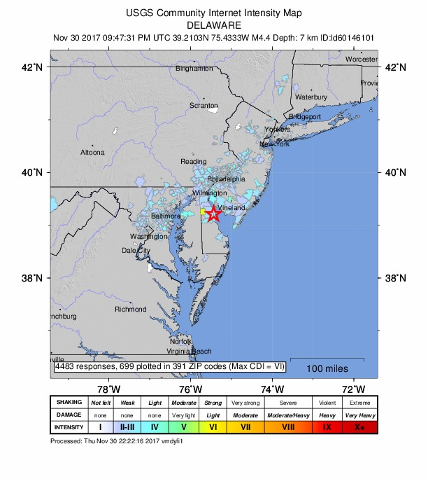 Rare quake shudders through Northeast; centred in Delaware