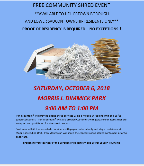 Free Paper Shredding Event Set For Saturday In Hellertown