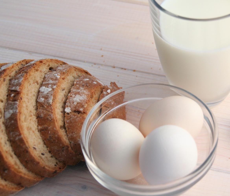 Milk bread eggs snow