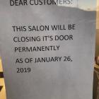 Holiday Hair Salon Closing