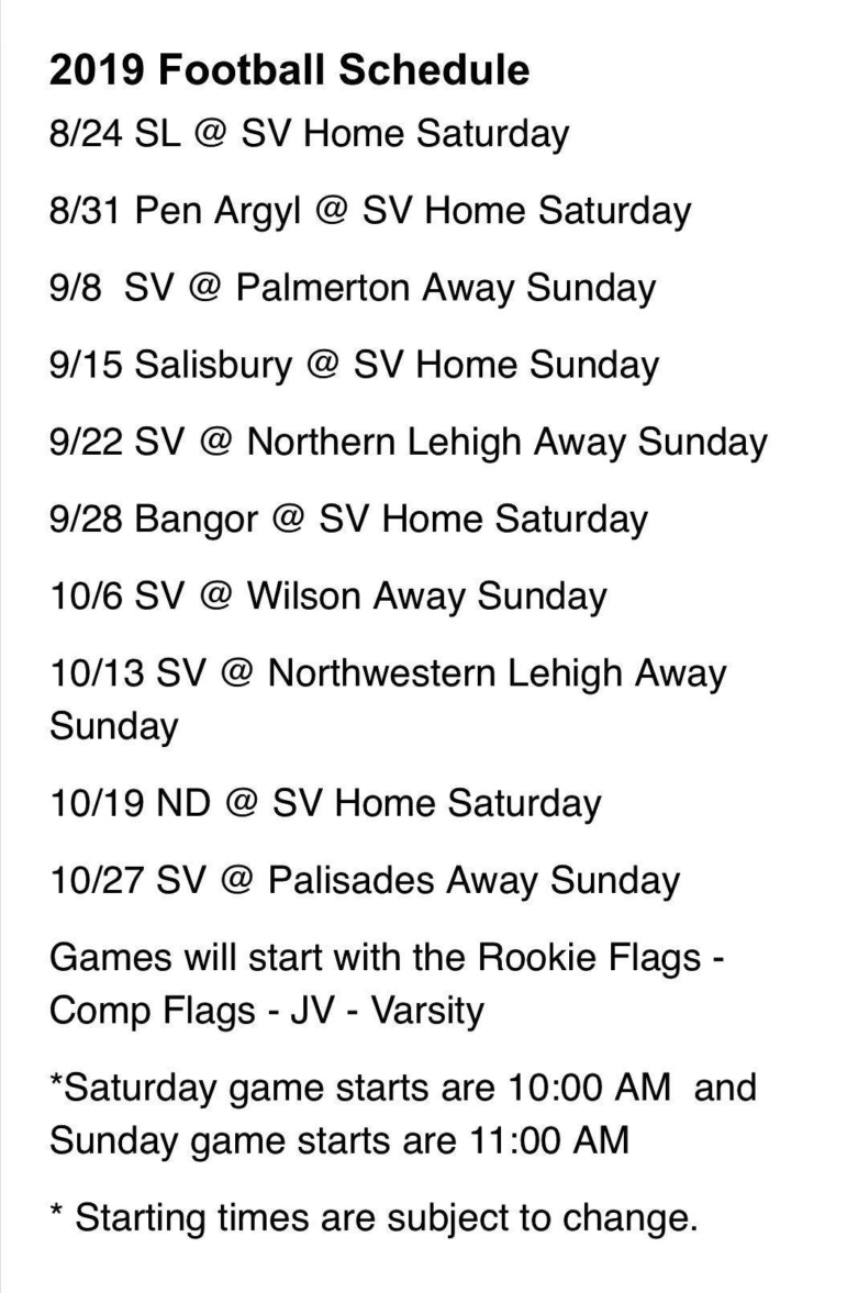 Little Panther Schedule 2019