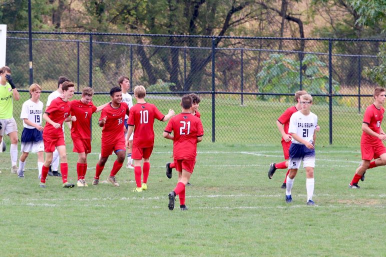 Monem celebrates senior goal soccer