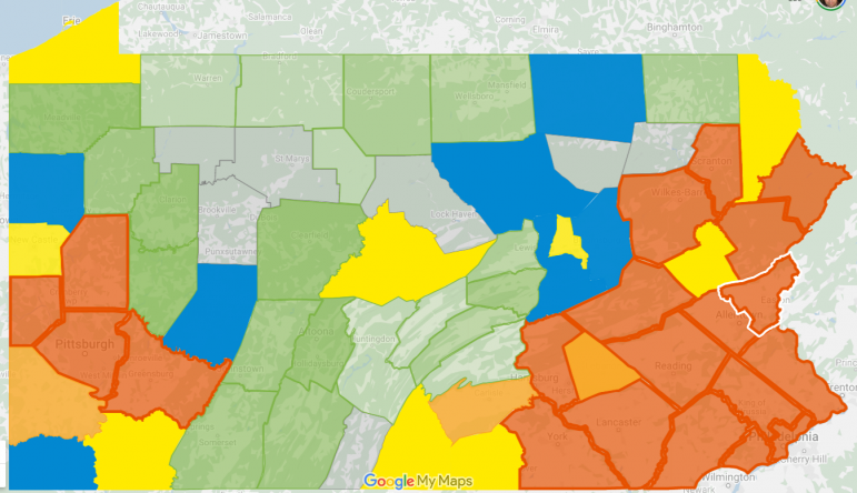 April 1 2020 Coronavirus Map Pennsylvania