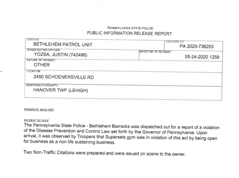 State Police Gym Cited