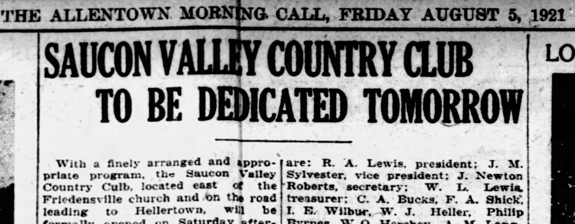 Saucon Valley Country Club 1921