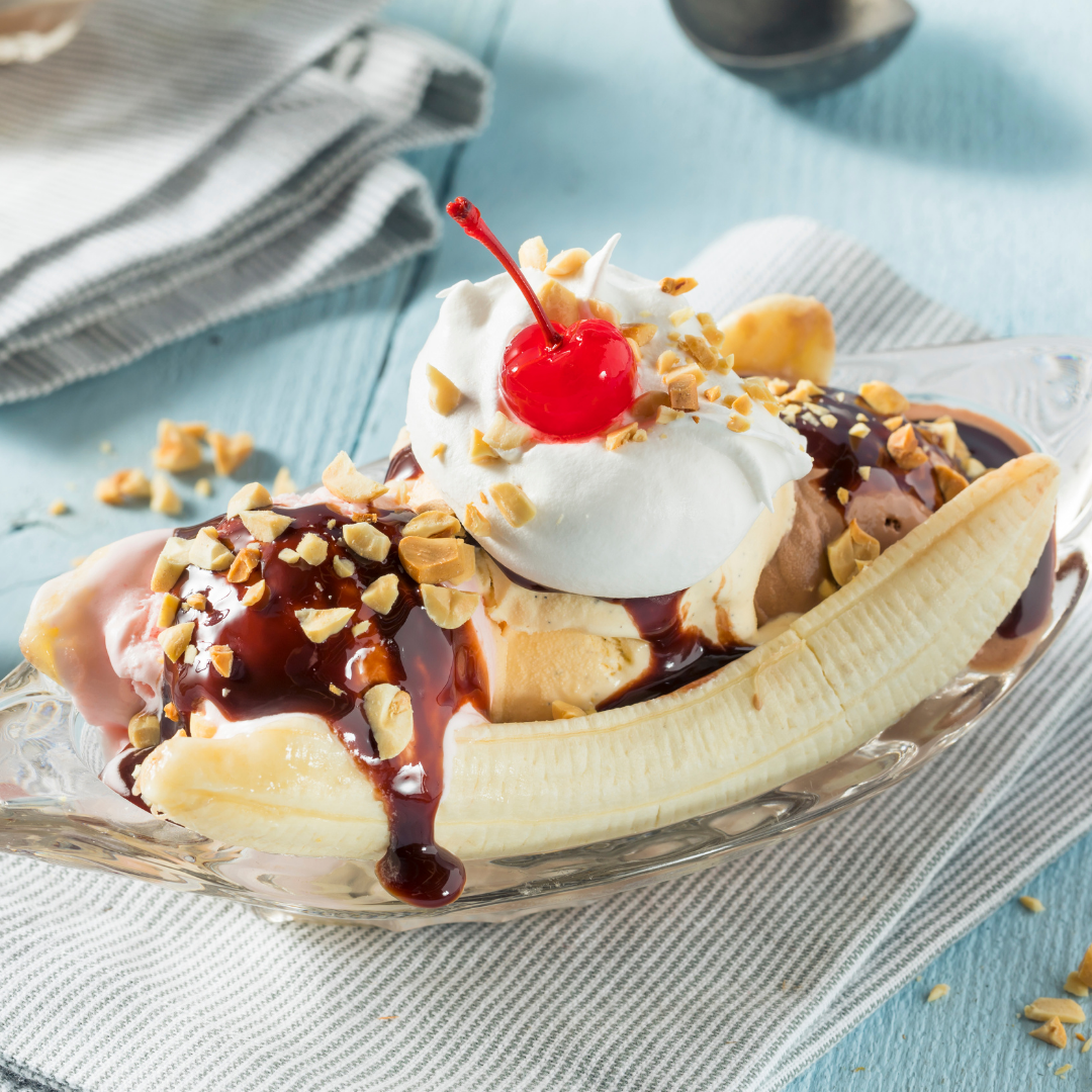 Ice Cream Banana Split Art Cafe Scoops